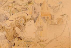 Ștefan Luchian (1858-1916), Schiță pentru panou decorativ, [1901], creion și acuarelă, 25,8 x 37,7 cm, Muzeul Național de Artă al României