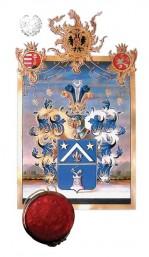 Scrisoarea patent cu noua stemă a ramurii albastre a familiei Du Mont, colecţia acad. C. Bălăceanu-Stolnici