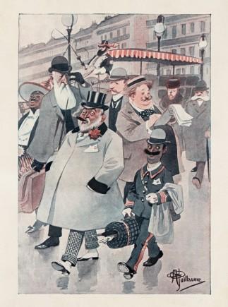 """Caricatură cu Regele Belgiei, Regele Angliei, Regele Greciei, Ţarul Rusiei şi Regele Italiei (""""Je sais tout. Magazine Encyclopédique de la Famille"""", an II, nr. XXII, 15 noiembrie 1906)"""