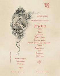 Meniul oferit de comunitatea britanică din București cu ocazia Jubileului de Diamant al Reginei Victoria, 22 iunie 1897 (Biblioteca Națională a României)